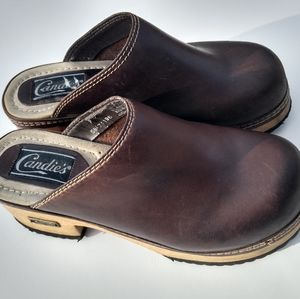 Candies Brown Leather Clogs Sz 7